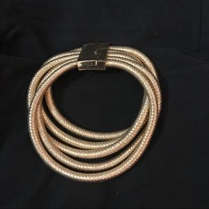 5 Coil Stacked Gold Choker w Magnetic Clasp -